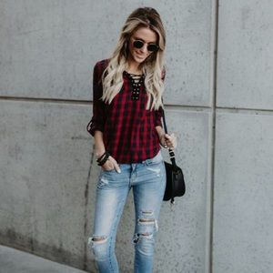 Brand New Vici Lace Up flannel top